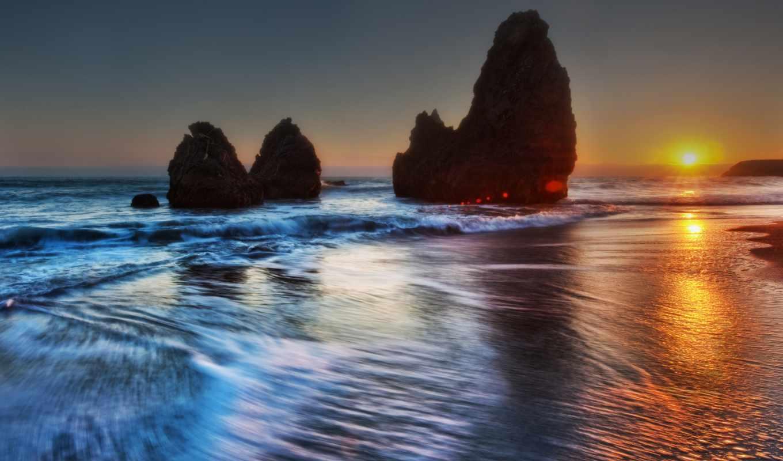 вечер, море, закат, берег, природа, морские, water, новости, изображение,