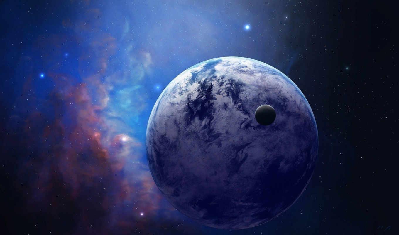космос, туманность, планета, спутник, звезды, арт,
