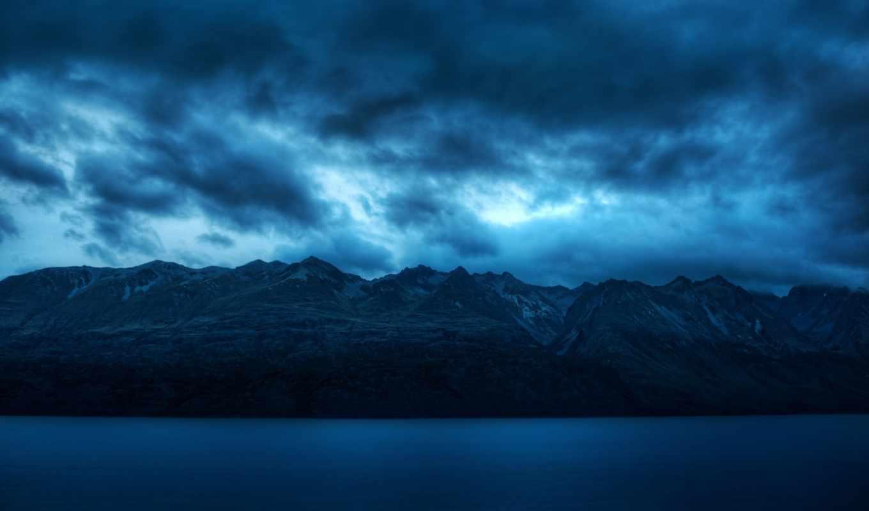 спокойствие, горы, blue, широкоэкранные, море, картинка, water, oblaka,