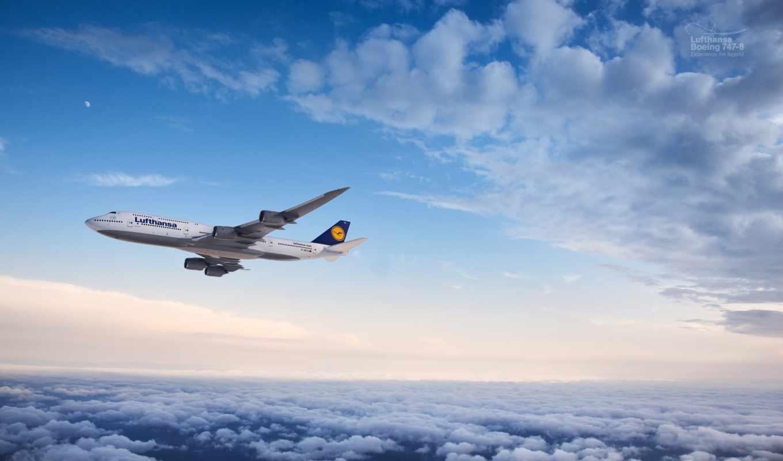 boeing, lufthansa, самолеты, полет, пассажирские, oblaka,