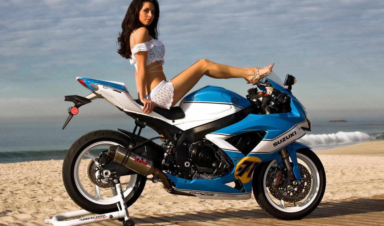 девушка, море, мотоциклы, bikes,