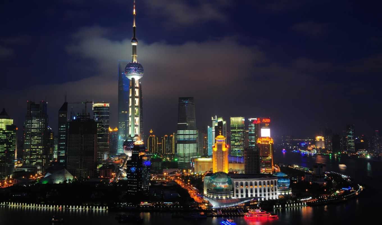 китай, город, огни,
