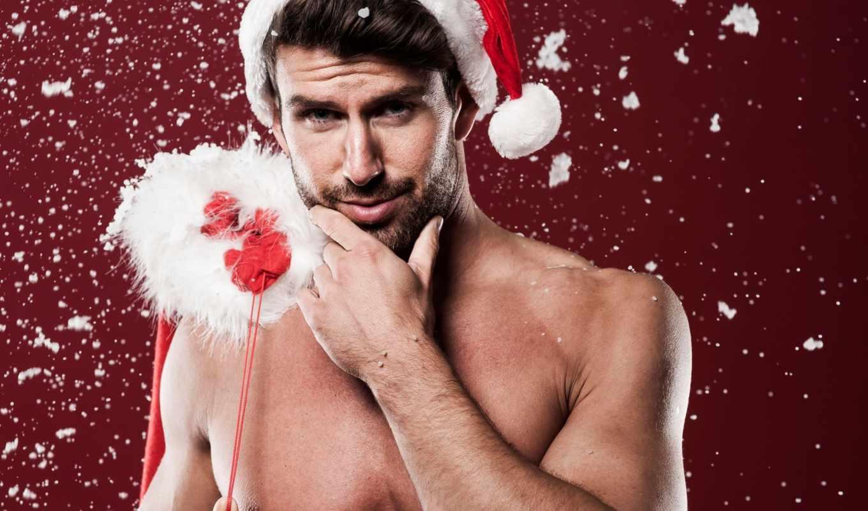 санта, парень, колпак, tors, щетина, настроение, радост, подарки, дек, снег, клауса,