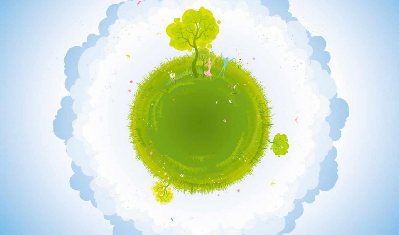 картинка, land, зелёный, трава, деревья, облака, blue,
