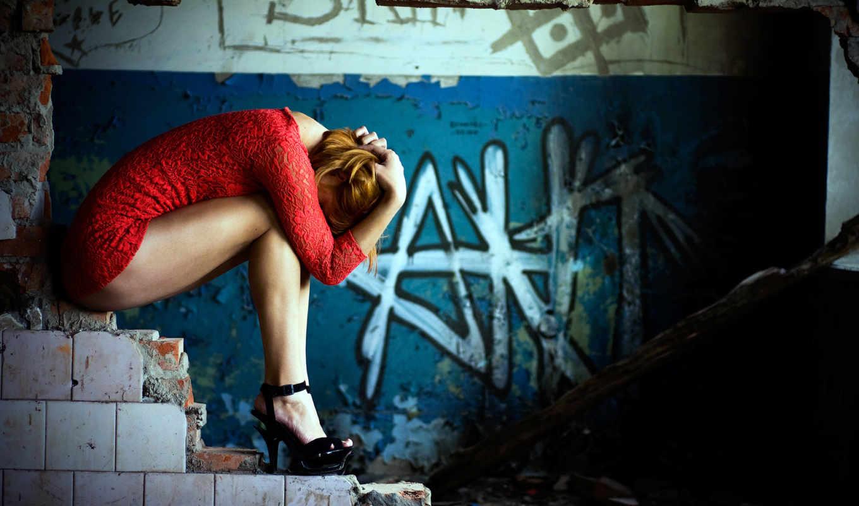 развалины, кирпичи, девушка, платье, красное, комната,