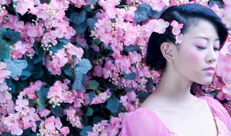 japanese, девушка, цветы, сакуры,