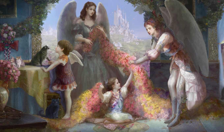 fantasy, цветы, ангелы, devushki, коллекция, девушка, выпуск, кошки,