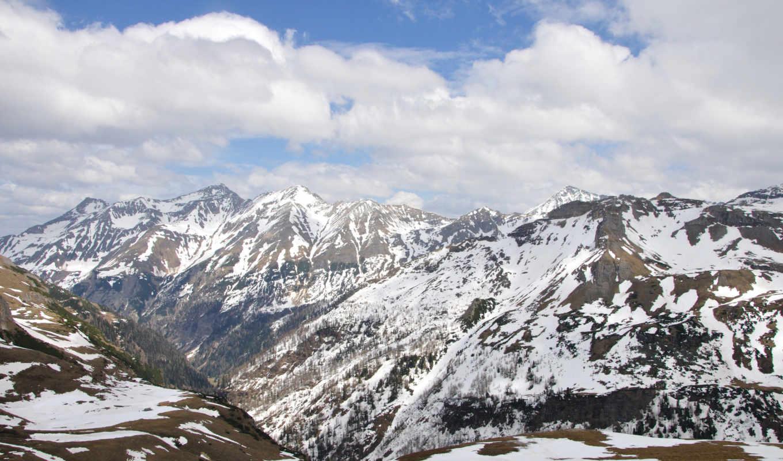 альпы, горы, oblaka, небо, австрия,