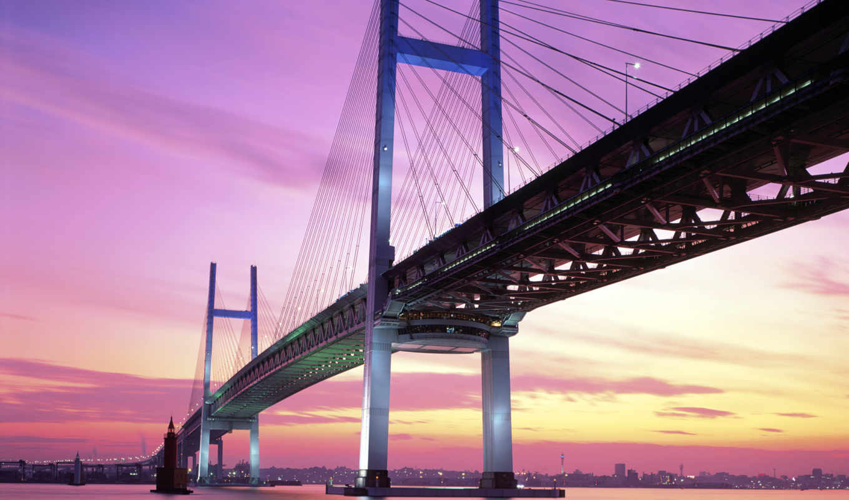мост, yokohama, япония, bay, картинка,