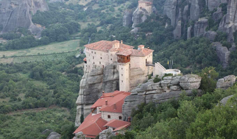 greek, метеоры, обитель, скалы, горы, утро, greece, complex,