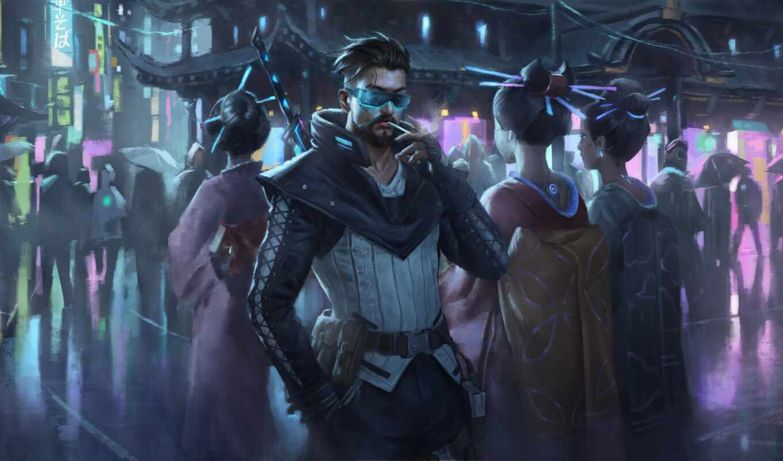 cyberpunk, фон, дым, artwork, artist, robot, фото