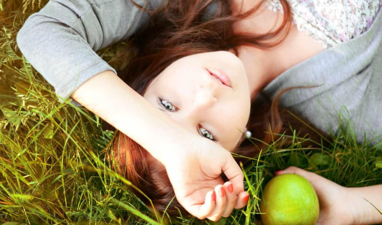 волосы, девушка, красные, настроения, apple, зеленое,