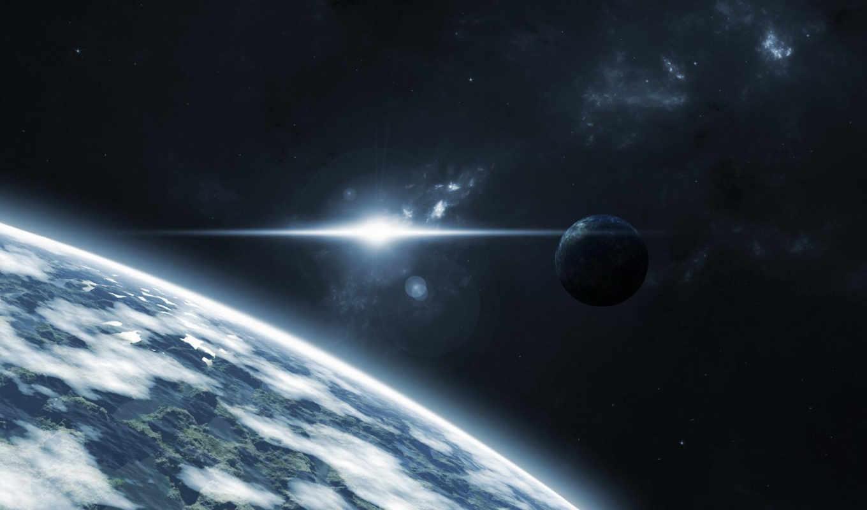 планета, звезды, луна, атмосфера, горы, космос, kosmos, pictures,