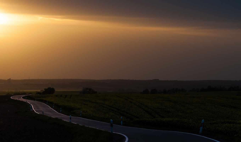 дорога, пейзаж, закат, смотрите, картинка,