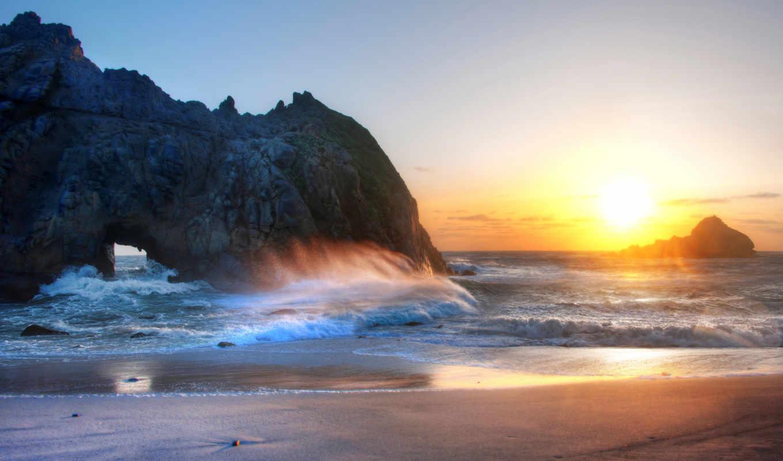 zakat, пляж, more, скалы, небо, волны, priroda,