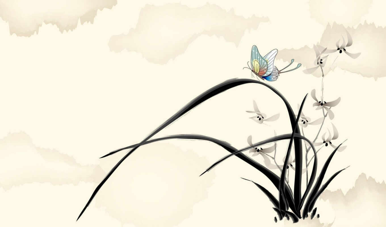 рисованные, бабочка, цветы, красивые, рисунок,