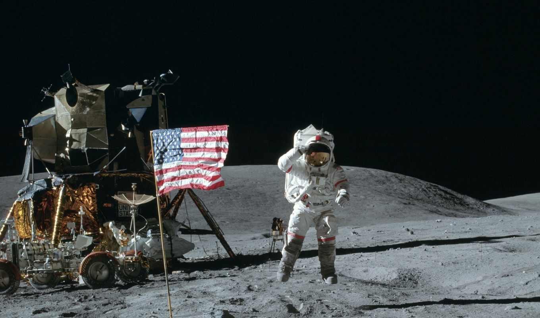 луна, космос, planet, космонавт, флаг, лунно, ракета, car, надпись,