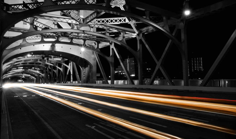 ночь, дорога, картинка, огни, мост,