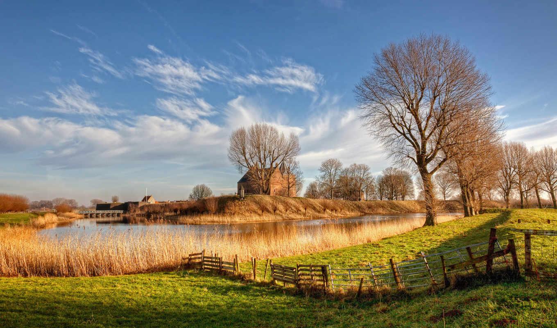 природа, нидерланды, красивые, заставки, количество, holland, река, флаг,