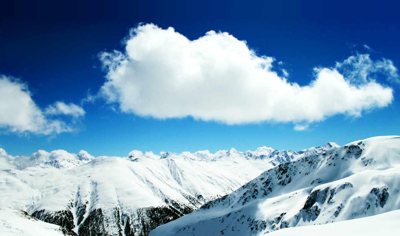 горы, oblaka, снег, вершины, облако, белые, небо,