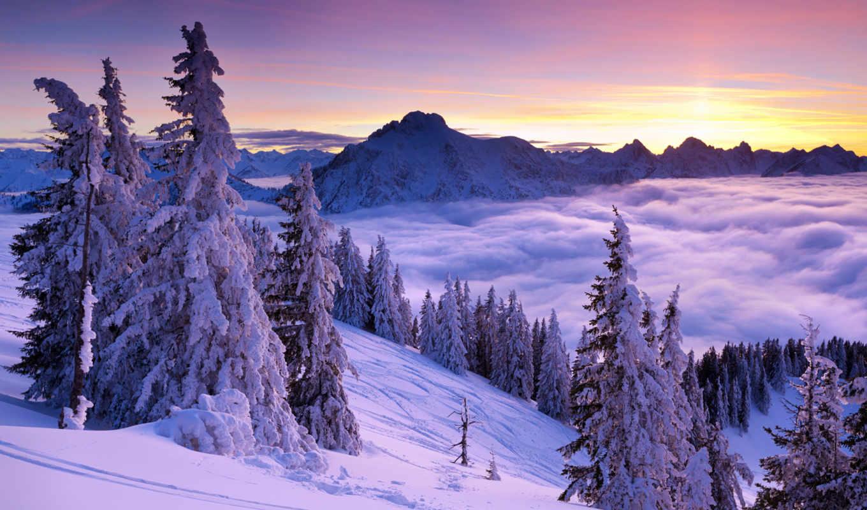 winter, пейзажи -, горы, landscape, снег, зимние, природа, часть,