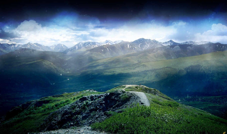 небо, природа, гора, mountains, clouds, top,