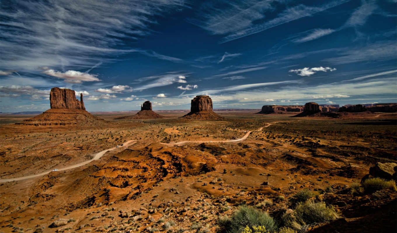 ecran, fonds, fond, памятник, пустыня, долина, télécharger, qualité, haute, nuages,
