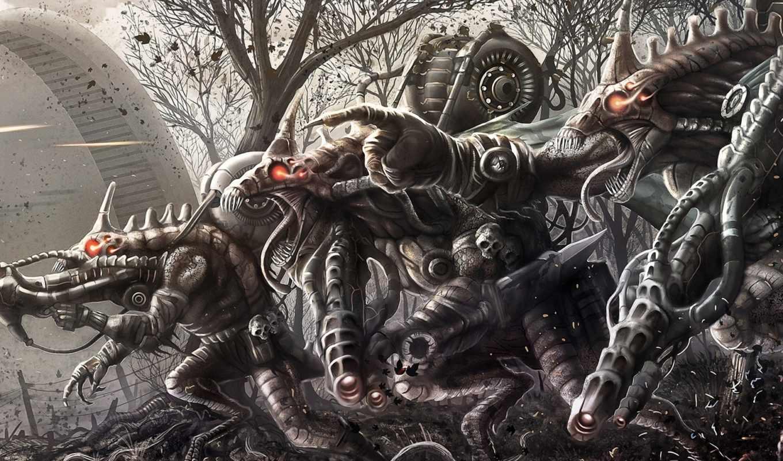 монстры, оружие, выстрелы, инопланетяне, глаза, горящие, лес, вторжение, картинку, sci, creature, фантастика,