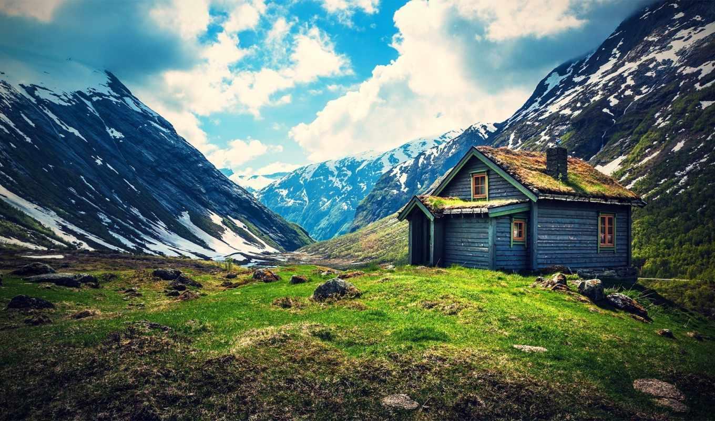 домик, горы, снег, картинку, картинка,