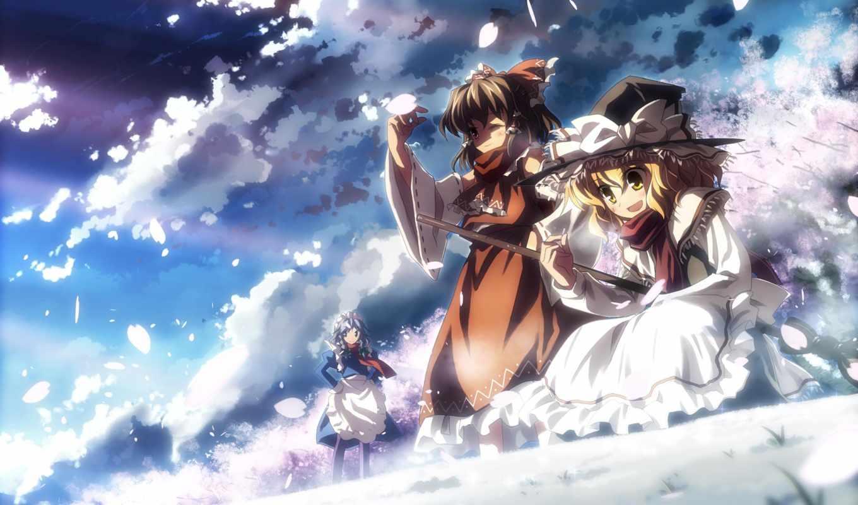 небо, друзья, лепестки, картинка, картинку, правой, кнопкой, мыши, выберите, ней, скачивания, разрешением, save, touhou, anime, uki, art,