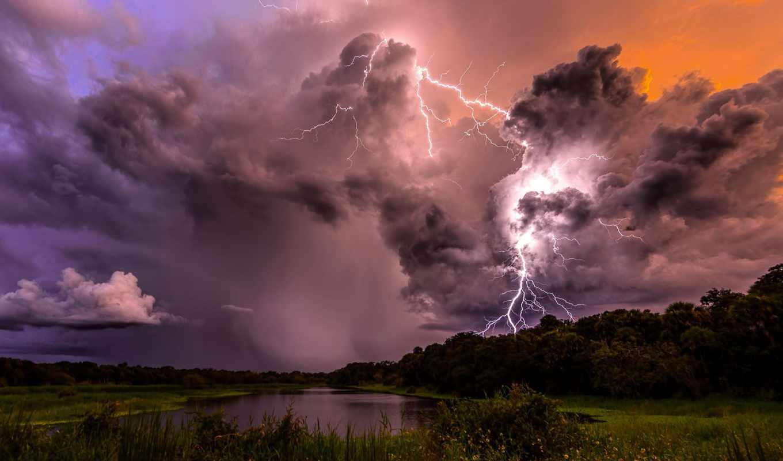 пейзажи -, молнии, коллекция, буря,