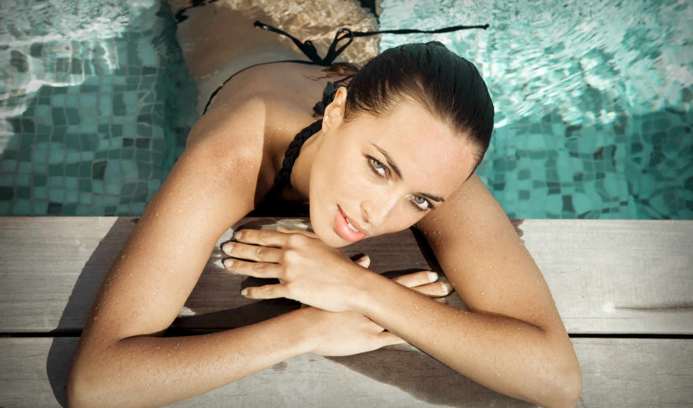 olivia, девушка, drout, мокрая, модель, взгляд, глаза, купальник, бассейн, hotel, drouot,
