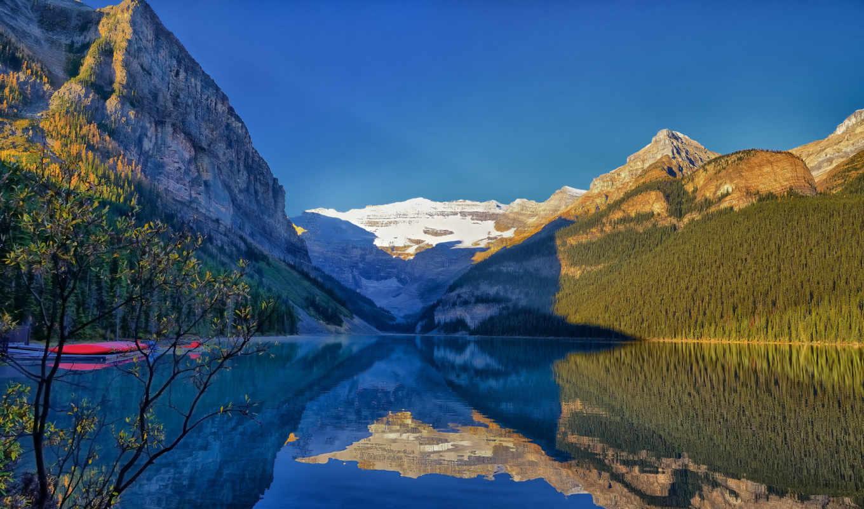природа, широкоформатные, альберта, national, park, озеро,