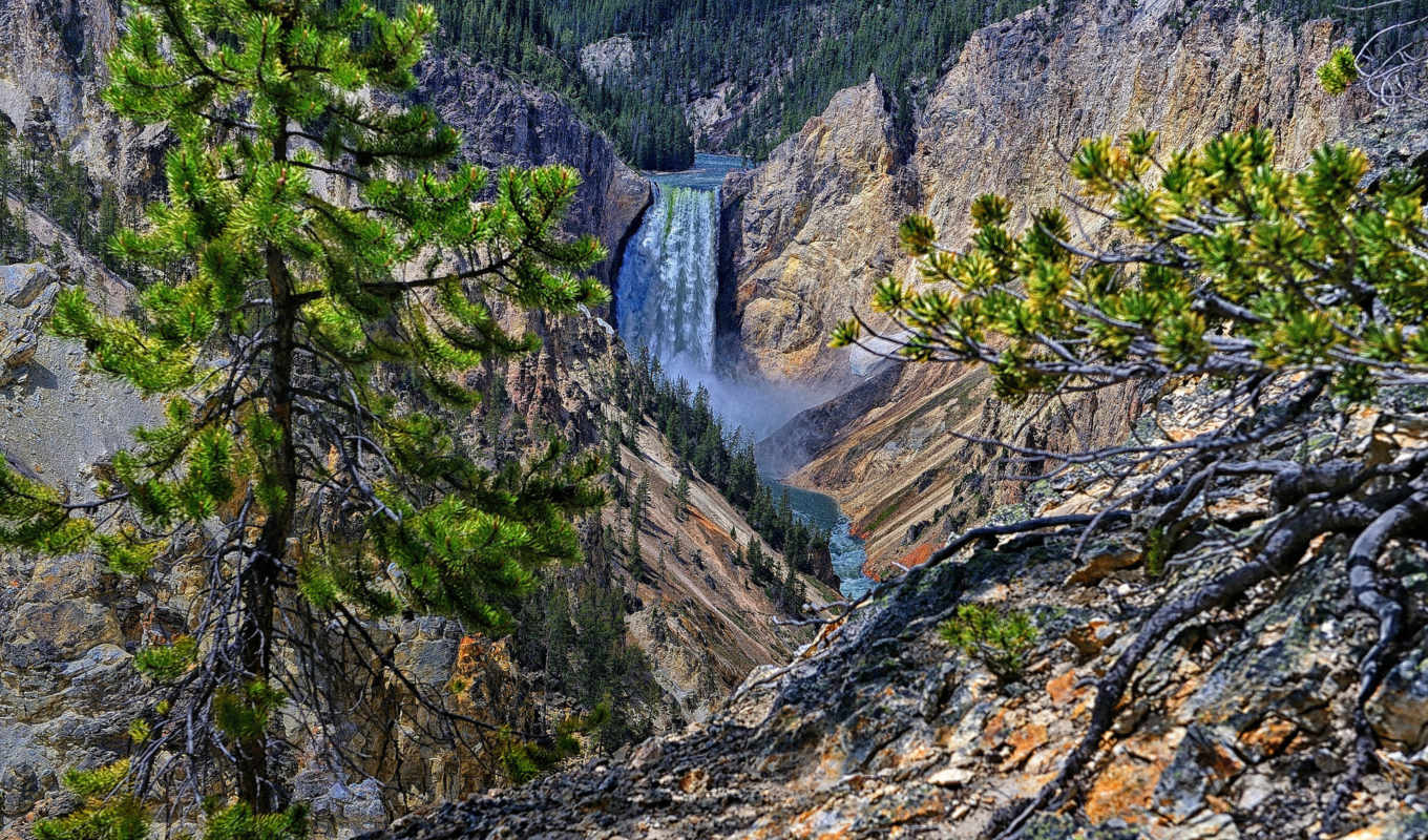 lower, falls, yellowstone, wyoming, park, фон, desktop, wide, hdr, national,
