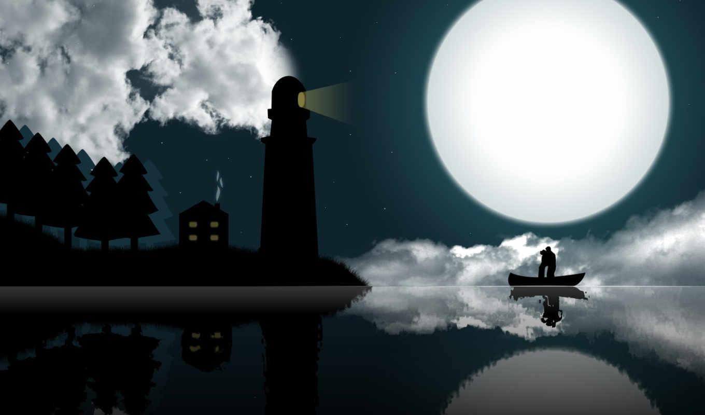 он и она, графика, маяк, дом, луна, озеро, лодка, облака