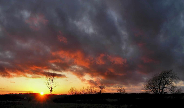небо, солнце, природа, разрешении, free, вечер, пейзаж, wallpaper, облака, выберите, деревья, поле, горизонт, закат, sonnenuntergang, изображения, wallpapers,