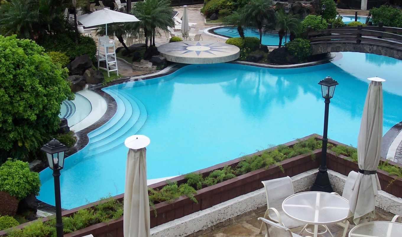 pool, камни, столики, мост, широкоформатные, кресла, деревья, swimming,