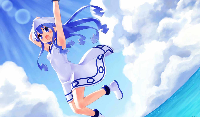 blue, hair, ipad, water, eyes, long, clouds,
