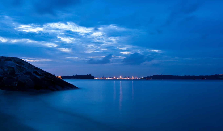 синева, вечер, сумерки, городок, море, небо, гора, океан,