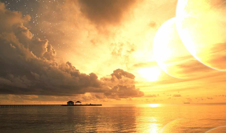 море, пляж, закат, облака, небо, вода, солнце, берег, лето, закате, шезлонг, золотой,