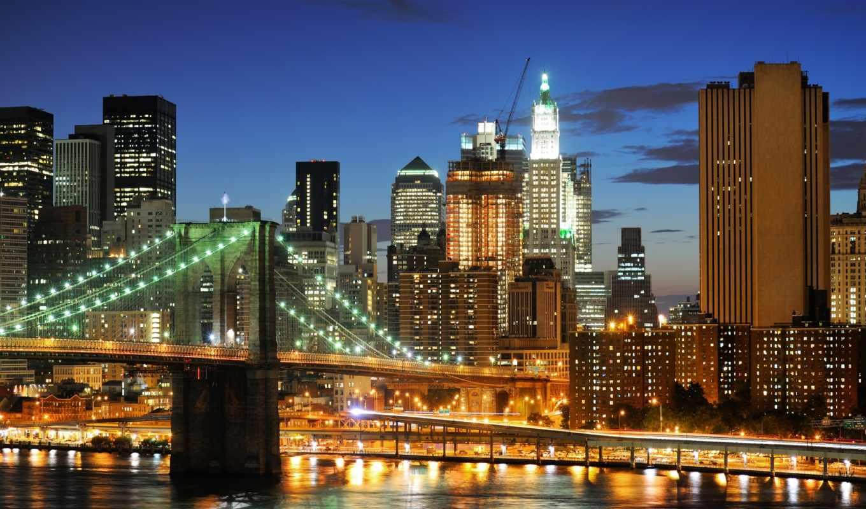 мост, бруклин, нью, york, new,