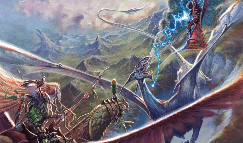 эльф, битва, горы, небо, lightning, дракон, лук, магия,