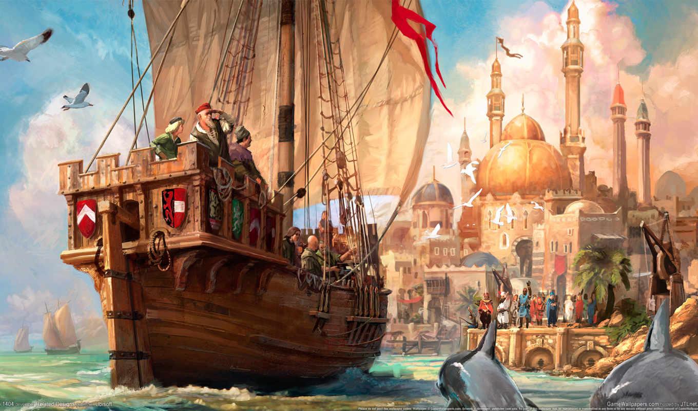 корабль, море, anno, ева, online, cosmos, люди,
