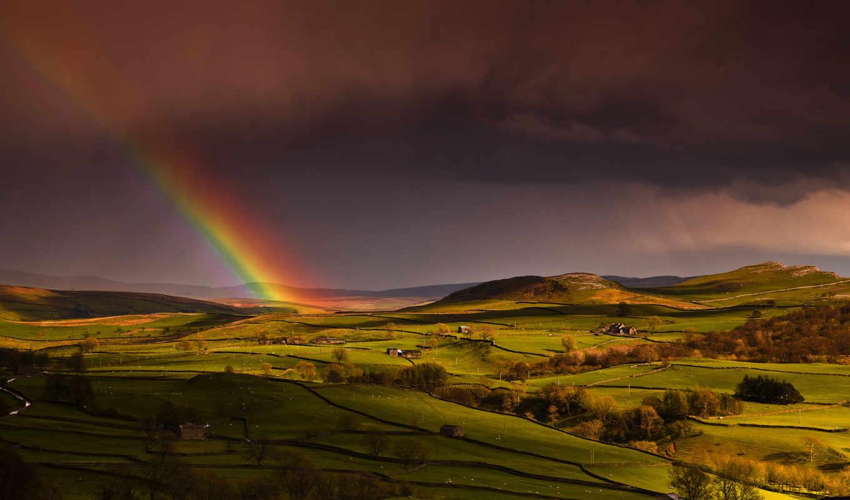 холмы, радуга, поля, дома, небо, весна, англия,