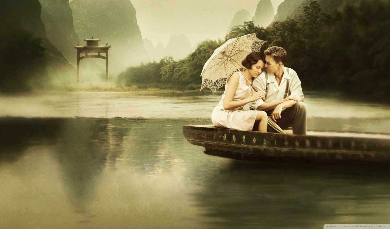 он и она, лодка, зонт, озеро, туман, восток, горы, лес