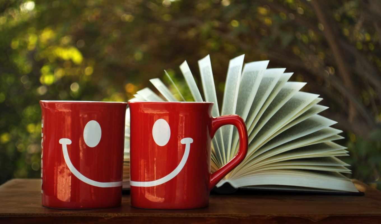 кружка, улыбка, книга, деревья, стол, древесина