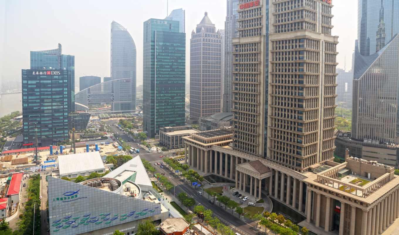 города, shanghai, china, первую, дома, обою, смотреть, истинном, мегаполис, реки, размере,