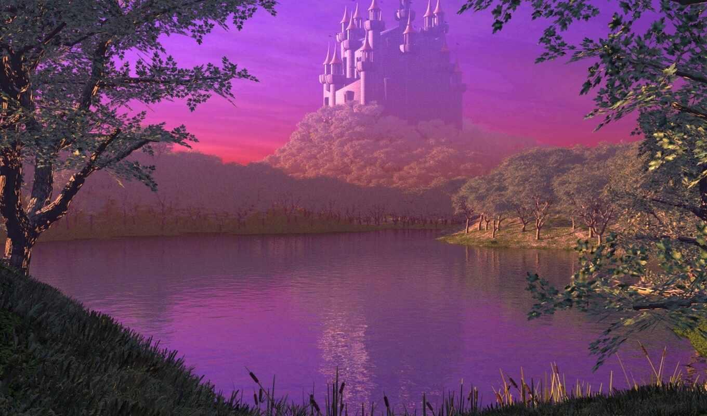 графика, stoloboi, hill, castle, красивый