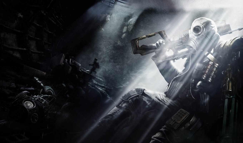 metro, last, light, подземка, человек, оружие, противогаз, широкоформатные,