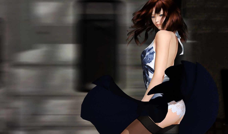 девушка, графика, юбка, ветер, anime, brunette, panties, платье, stockings, вид,